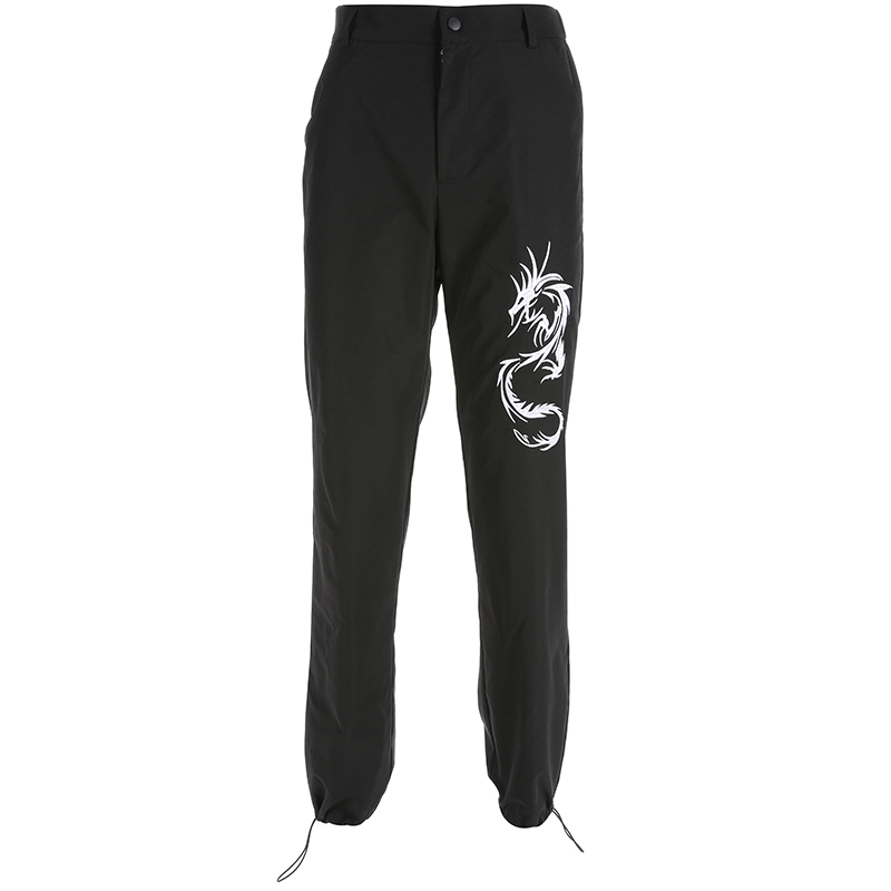Sweetown Chinese Style Dragon Embroidery Cargo Pants Women Black High Waist Pocket Trousers Streetwear Womens Joggers Sweatpants 3