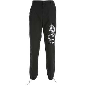 Image 4 - Sweetown中国風ドラゴン刺繍カーゴパンツ女性ブラックハイウエストポケットズボンストリートレディースジョガースウェットパンツ