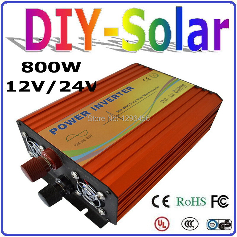 New 800W Solar Wind Power Inverter 12V 24V DC TO AC 220V 110V Pure Sine Wave Output Solar/Wind/Car Home Use Power Inverter 800W