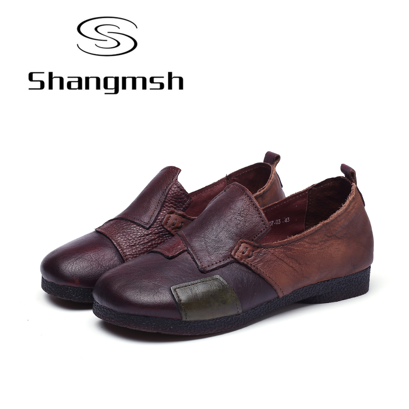 Shangmsh Slip On Shoes For Women 2017 Autumn Genuine Leather Female Loafers Handmade Round Toe Soft Mom Driving Flat Shoes цена и фото