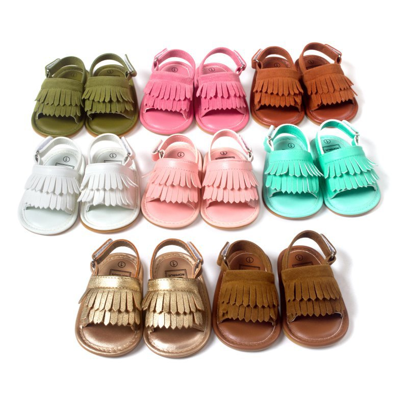 2019 New Summer Baby First Walkers Soft Bottom Fringe Candy Color Shoes Girls Baby Toddler Slippers Boys Prewalkers