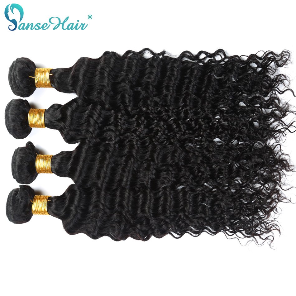 Panse Hair Deep Wave 4 Bundles Per Lot Malaysian Human Hair Weaving - Mänskligt hår (svart) - Foto 3