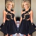 Black Short Cocktail Dress 2016 Lace Applique O Neck Zipper Back Mini Women Party Gown
