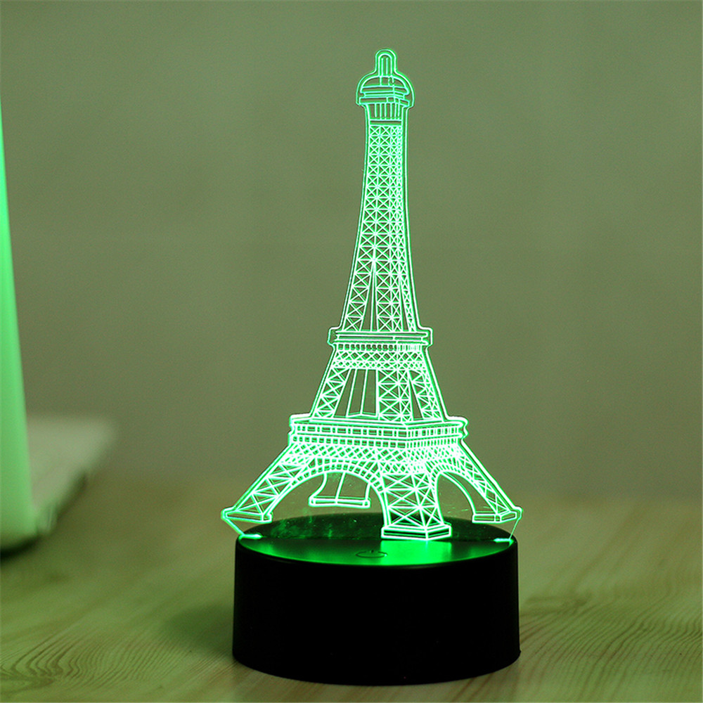 7 Color Eiffel Tower 3D Visual Led Night Lights for Kids Touch USB ...