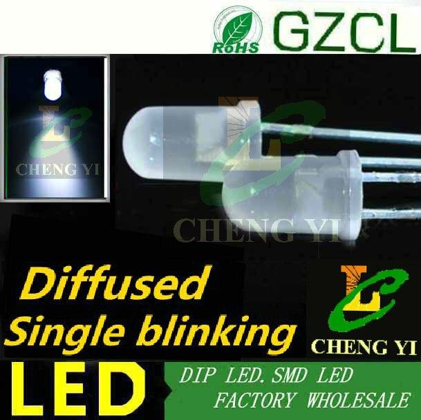 White 1 5Hz single blinking light emitting diode 5mm diffused dip led 6000 7000K 3 0
