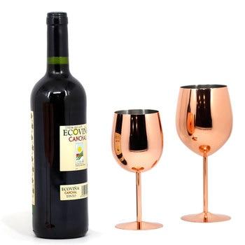 2 copas de vino de acero inoxidable de 550/350ml con acabado en espejo de cobre dorado y rosa para champán, copas a prueba de golpes y agua