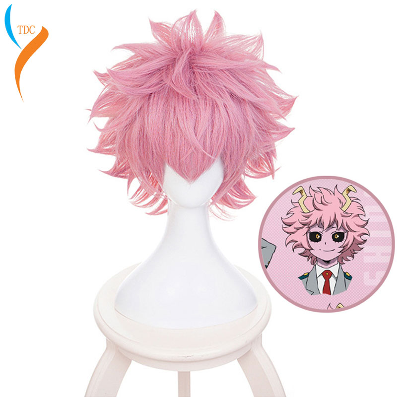 My Boku No Hero Academia Ashido Mina Short hair wig Pink Cosplay Costume Wigs