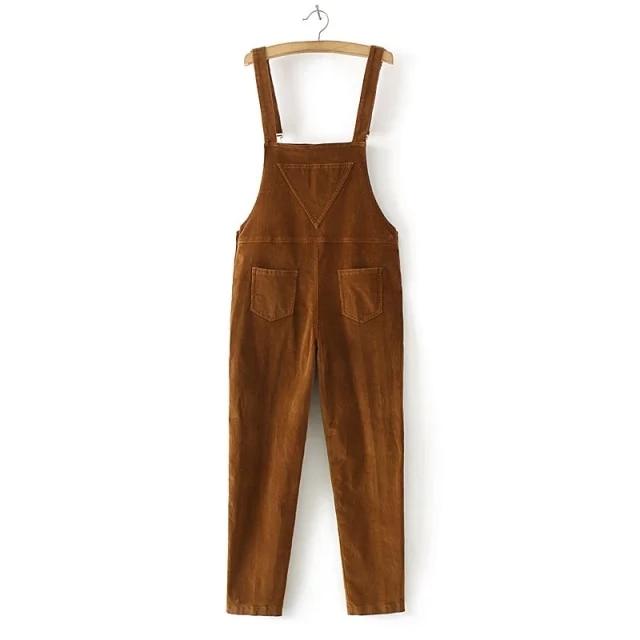 bd3cdf53f31 2019 2017 Spring Womens Suspenders Corduroy Jumpsuit Autumn Loose ...