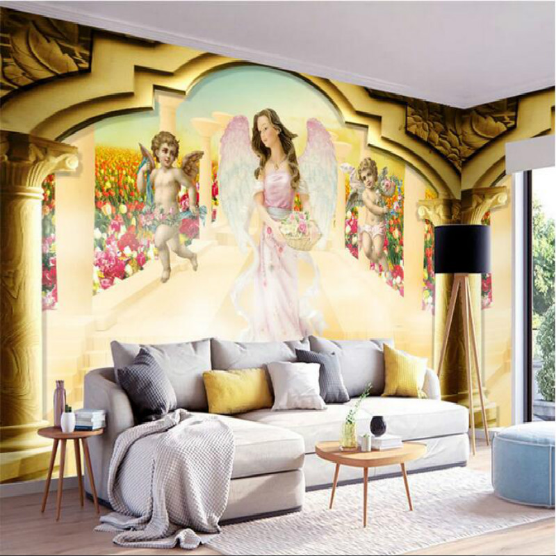 European Roman column Angel large murals wallpaper living room bedroom wallpaper painting TV background wall 3D wallpaper blue earth cosmic sky zenith living room ceiling murals 3d wallpaper the living room bedroom study paper 3d wallpaper