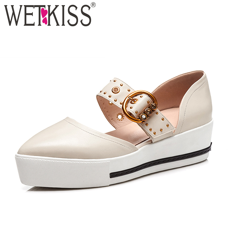 WETKISS Summer High Heels Women Sandals Pointed Toe Horsehair Rivet Footwear 2018 Fashion Casual Leather Female Platform Shoes цена