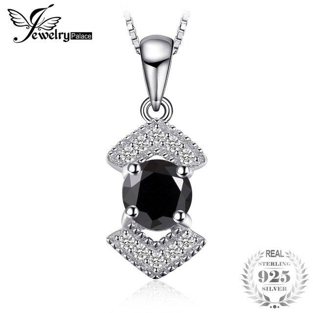 JewelryPalace Elegant Genuine Black Spinel Pendnat Necklace 925 Sterling Silver