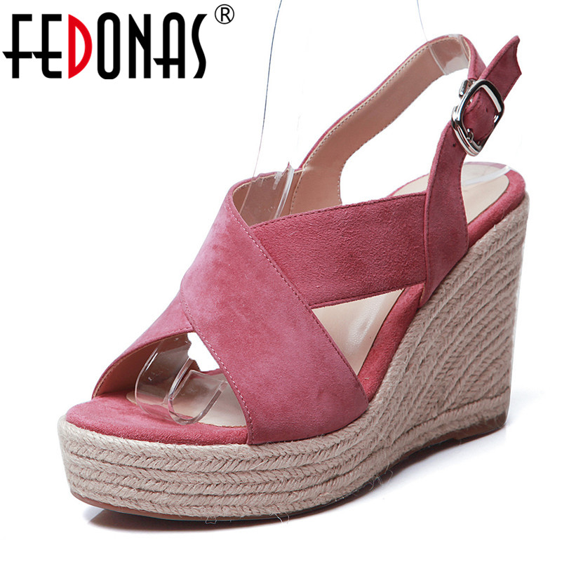 FEDONAS Concise Solid Color Women High Heels 2019 Suede Leather Casual Shoes Buckle Strap Shoes Summer Sandals Basic Shoes WomanFEDONAS Concise Solid Color Women High Heels 2019 Suede Leather Casual Shoes Buckle Strap Shoes Summer Sandals Basic Shoes Woman