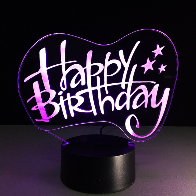 Happy Birthday 3D Led Light RGB Changing Night Lights USB LED Creative Lighting Lamp