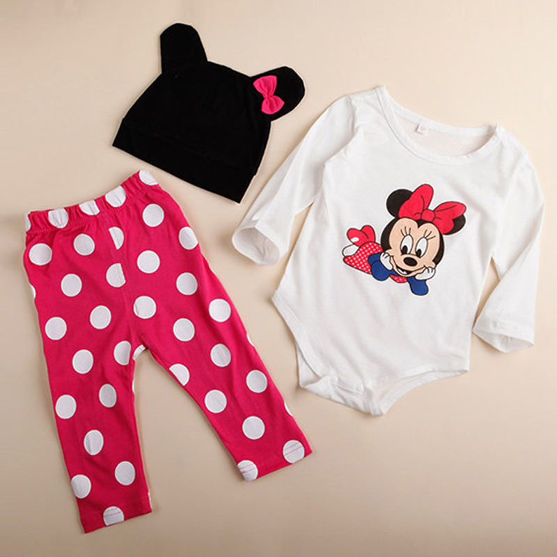 3Pcs Baby Kid Boy Girl Mickey Mouse Long Sleeve Top Pant Bodysuit Hat Outfit Set