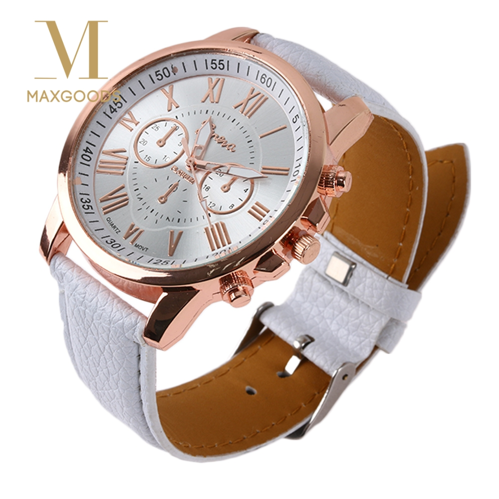 Us 1 1 20 Off Fashion Women Watches Simple Faux Leather Roman Numerals Analog Quartz Wrist Ladies Watch Nice Gift In Women S Watches From Watches On