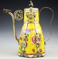 Exquisite Vintage Tibet White Procelain Handwork Collectable Tea Pot P 3 6 5 Free Shipping Tools