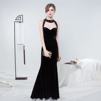 Holievery Beaded Velvet Mermaid Evening Dresses with Halter Neck 2019 Sexy Long Evening Gowns Black Burgundy Party Dress