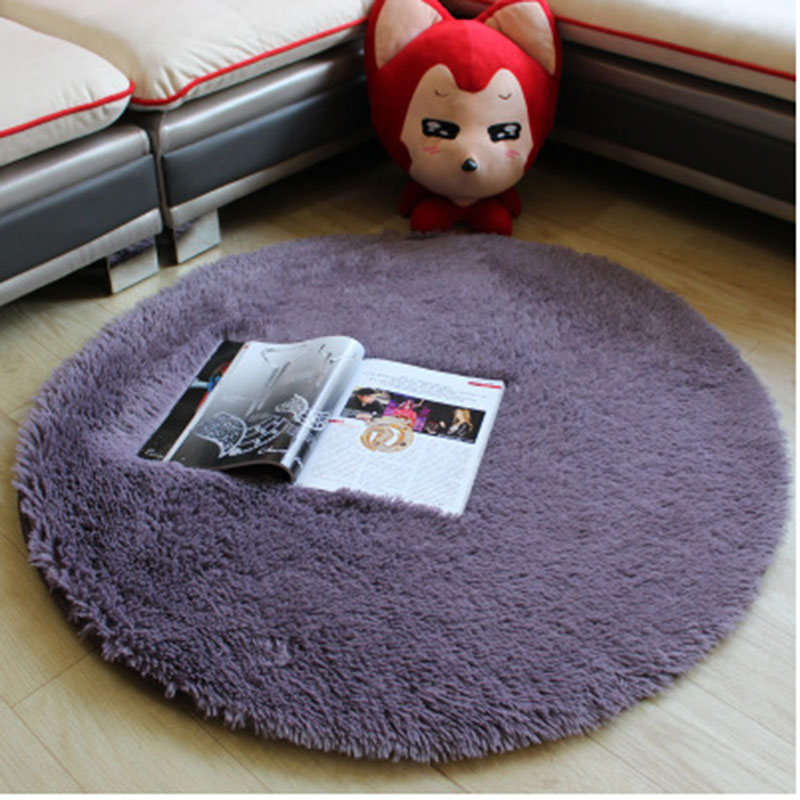 Urijk Silk Round Bedside Carpet Yoga Carpet Silk Hair 40X40cm Hanging Basket Computer Chair Cushion Bedside Bedroom Floor Mats
