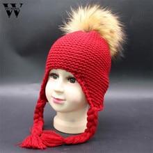 Unisex Crianças Com Idades Entre 1-4 Quente Gorro De Malha chapéu do  inverno para crianças de pele Pom Pom Chapéus para meninas . b1124cfa934