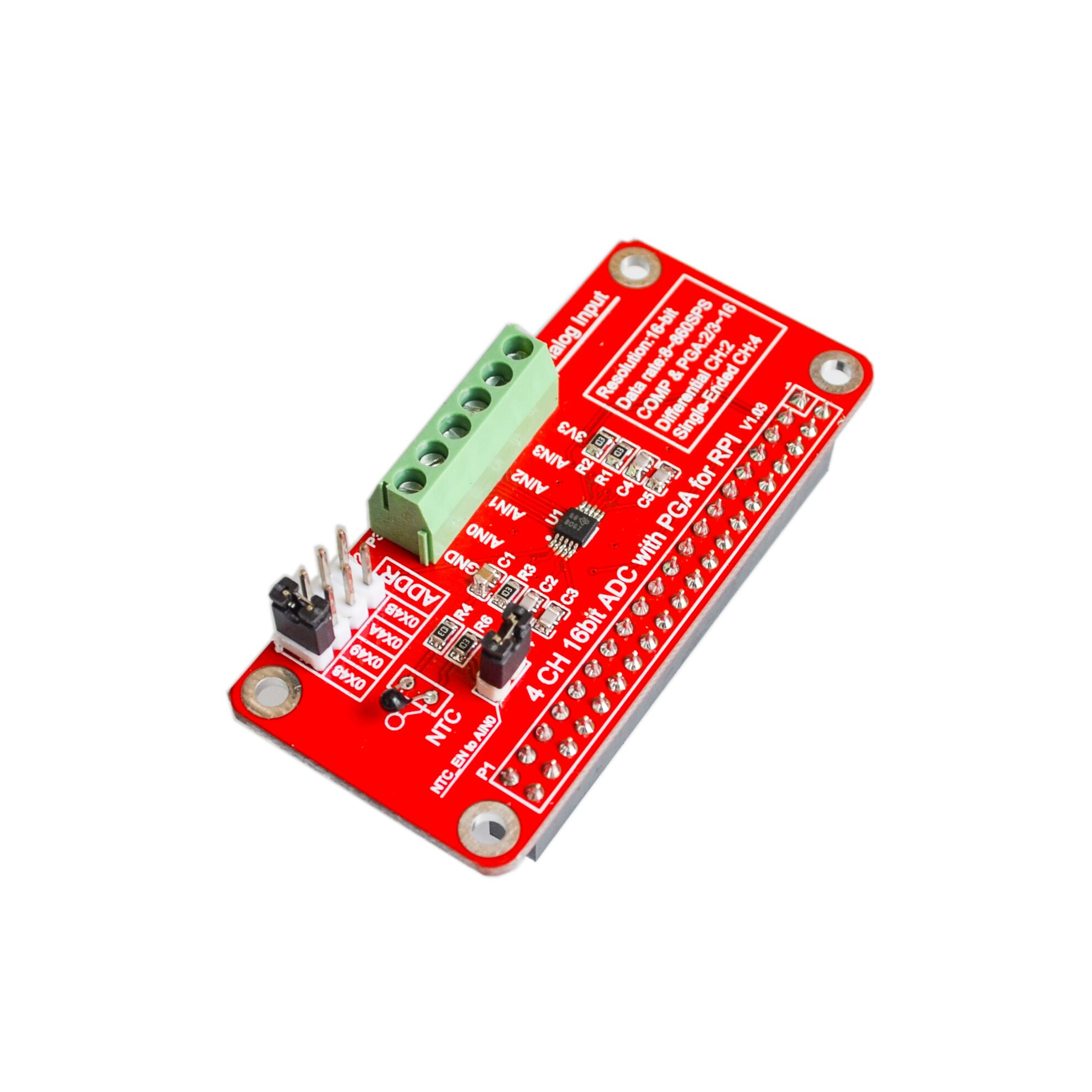 16 Bits I2C ADS1115 Module ADC 4 Channel for Raspberry Pi 3/2 Model B/B+16 Bits I2C ADS1115 Module ADC 4 Channel for Raspberry Pi 3/2 Model B/B+