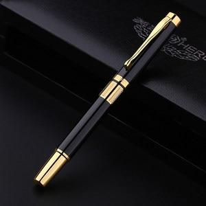 Image 3 - יוקרה שחור תיבת רולר עט זהב קליפ מלא מתכת ג ל עט כבד מרגיש טוב באיכות לקבל 3 מילוי משלוח