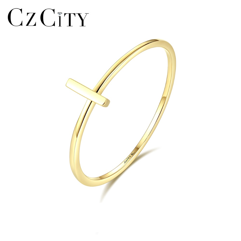CZCITY Asymmetrical 14K Gold Sideways Cross Ring for Women Thin Round Male Female Wedding Ring Yellow