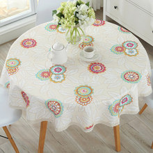 Pastoral round tablecloth, waterproof anti-scalding and oil-proof dining table, cotton linen small fresh home