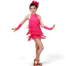 Girls Latin Tassels Dance Dress Children Dance Costumes Latin Fringed Dress Salsa Tango Samba Chacha Dance Dress