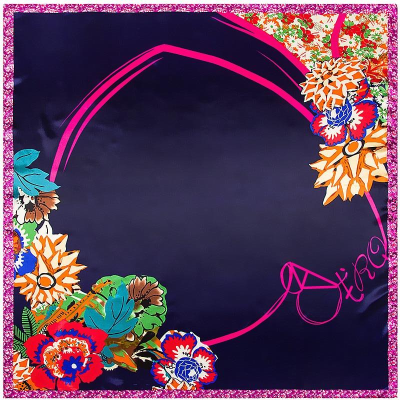 MENGLINXI 90cm*90cm 2019 New Luxury Brand Women Twill Silk Scarf Floral Heart Print Square Scarves Wraps Fashion Hijab Headband