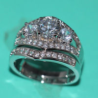 Sz 5-11 Vintage Wholesale Jewelry Three stone 10kt white gold filled Gem Simulated stones AAA CZ wedding bridal ring set Gift