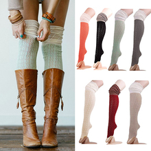 Women Fashion Crochet Knit Over Knee Thigh High Long Stocking Boot Hosiery