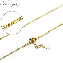 Anenjery 925 Sterling Silver Necklace 40cm+4cm Yellow Gold Color O Shape Cross Link Chain Necklace For Women choker S-N181(China)
