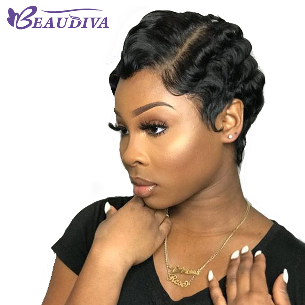 Beaudiva Short Lace Human Hair Wigs For Women Brazilian Ocean Wave Remy Human Hair No Smell