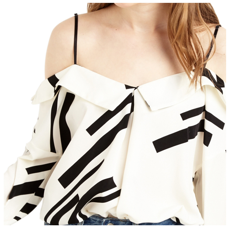 TKOH Womens Fashion Backless Strap Tops Long Sleeve Off Shoulder Female Tops Street Color Block Loose Blouses Shirts