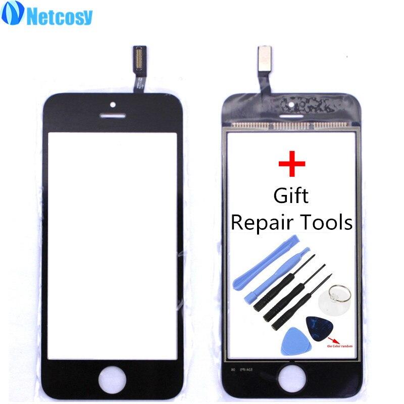 Netcosy מסך מגע Digitizer חזית לוח מגע זכוכית עדשת מסך מגע עבור ה-iphone 5S עם כלים אביזרים לטלפון נייד
