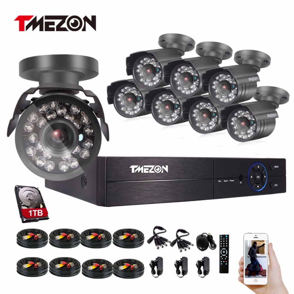 Tmezon HD 8CH 1080P DVR Kit 8pcs 2.0MP 1080P Bullet Camera Security Surveillance CCTV System Waterproof P2P View By Phone tmezon 16ch dvr 16pcs 1200tvl camera security surveillance cctv system outdoor ir night vision bullet waterproof 1tb 2tb hd kit