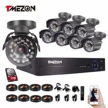 Tmezon HD 8CH 1080P DVR Kit 8pcs 2.0MP 1080P Bullet Camera Security Surveillance CCTV System Waterproof P2P View By Phone