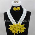 Yellow Braid Flowers Choker Necklace African Beaded Set White 2 rows Crystal bead Jewelry set,Free shipping CR00623