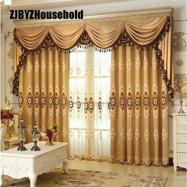 Curtains With Valance For Living Room Wall Clock Position In Europe Style Luxury Embroidered Modern Window Curtain Bedroom