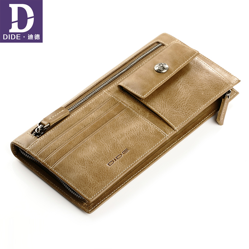DIDE Long Wallet Purse Coins Multi-Functional Vintage Large-Capacity 100%Genuine-Leather