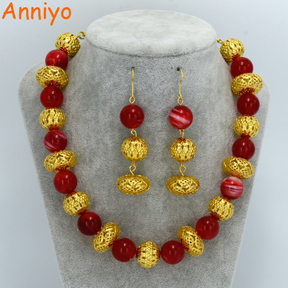 Anniyo 46cm + 10cm Beads Necklace and Earrings for Women Fashion Gold Color Ball Jewelry Fashion Party sets #063906 fashion rabbit and grass pattern 10cm width wacky tie for men