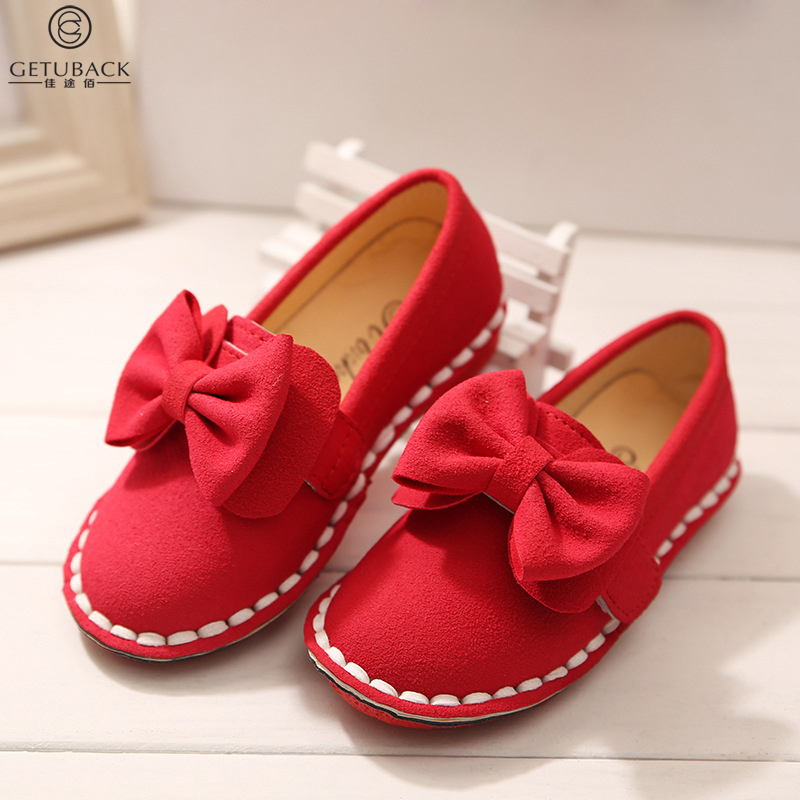 2016 new arrival girls korean style bow shoes kids brand solid single shoes baby fashion sweet Korean fashion style shoes