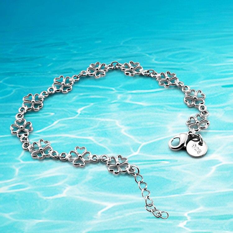 Dámské šperky, módní náramek, stříbrný náramek 925 mincí, náramek se čtyřmi listy Clover; doprava zdarma