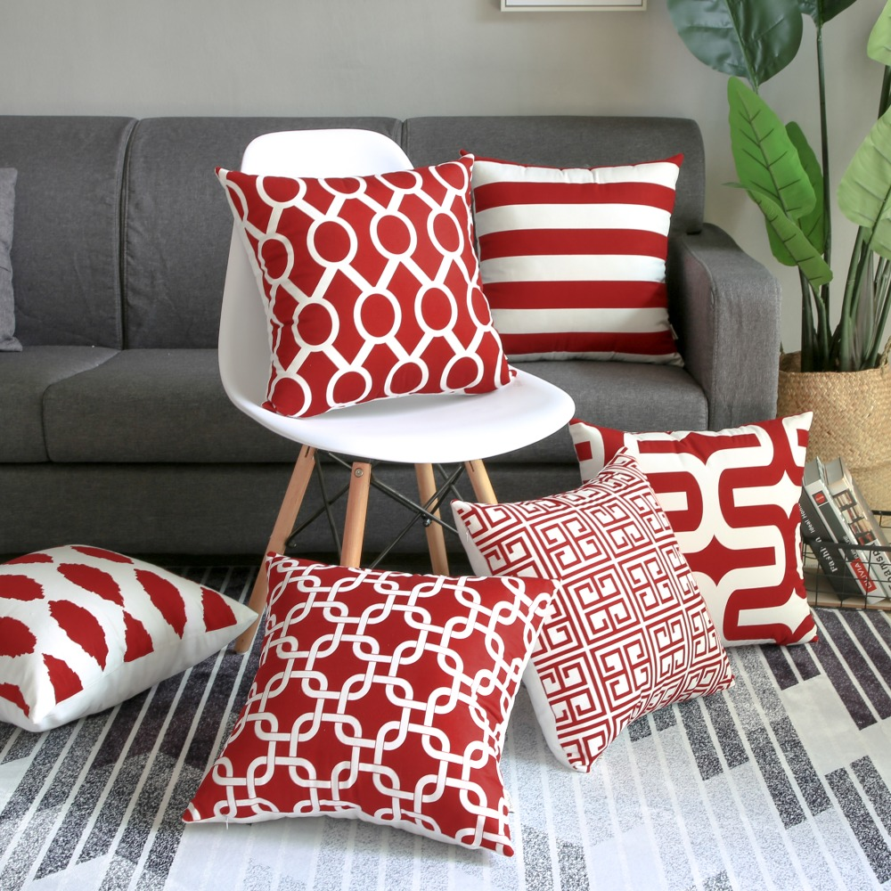 Awesome Topfinel Geometric Decorative Wine Throw Pillows Cover Cases Ibusinesslaw Wood Chair Design Ideas Ibusinesslaworg