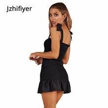 club strap two piece set dress mujer vestido dresses women femme backless elastic ruffles hem one piece bodycon dress black red недорого