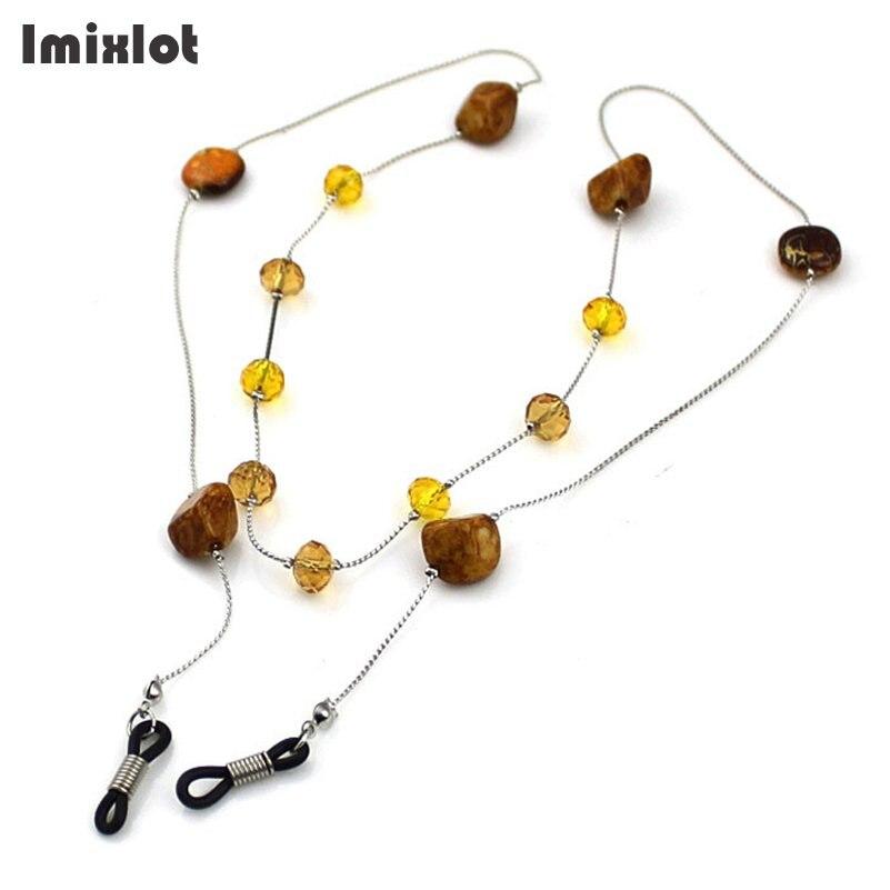Imixlot Glasses Chain Crystal Stone Beaded Charm Metal Sunglasses Eyeglass Reading Glasses Chain Eyewears Cord Neck Strap Rope