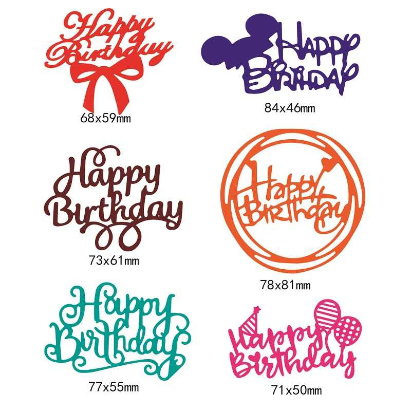 Happy Birthday Words Metal Cutting Dies Stencil for DIY Scrapbooking Photo Album Embossing Paper Cards Crafts Diecuts New 2019