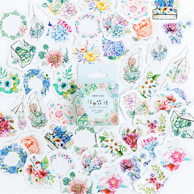 flowers-and-plants-decorative-washi-stickers-scrapbooking-stick-label-diary-stationery-album-stickers