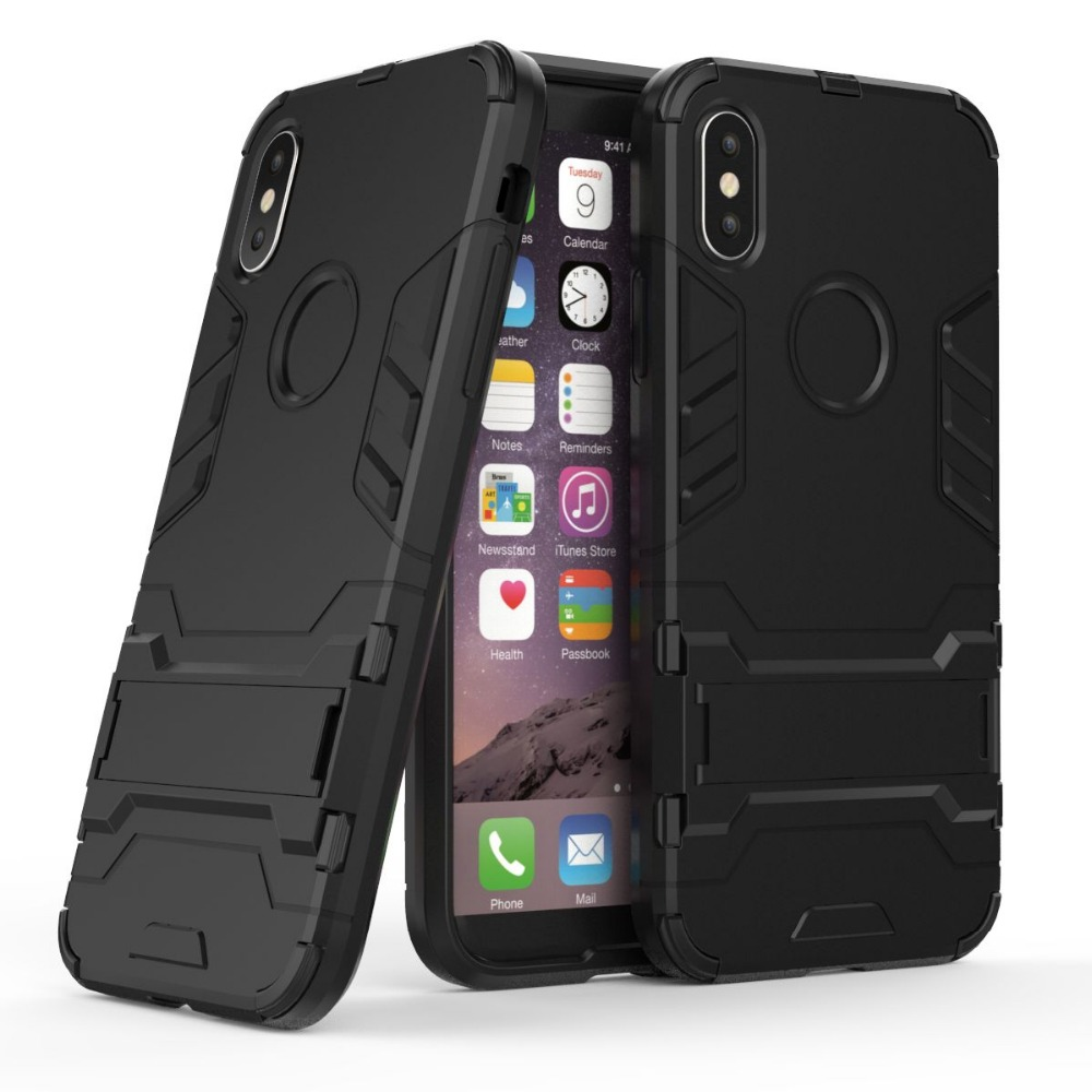 Wholesale 50pcs PC TPU 2 in 1 Kickstand Armor Hybrid Case For iPhone X