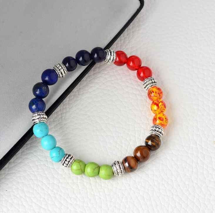 2018 nowy Multicolor 7 Chakra Healing Balance koraliki bransoletka bransoletka joga życie energia kamień naturalny bransoletka kobiety mężczyźni Casual biżuteria